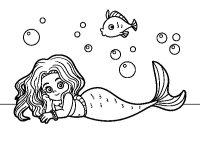 Dibujo de Sirena Bonita para Colorear - Dibujos.net