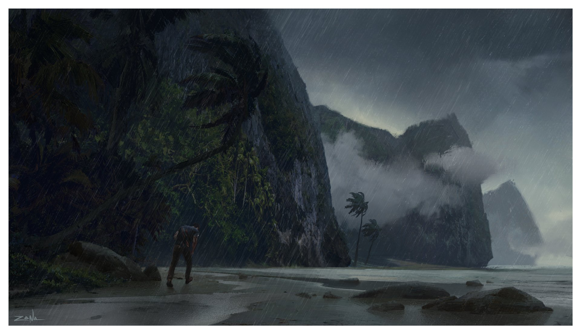 Uncharted 4 A Thiefs End Concept Artwork Sets The Mood For A Tropical Storm