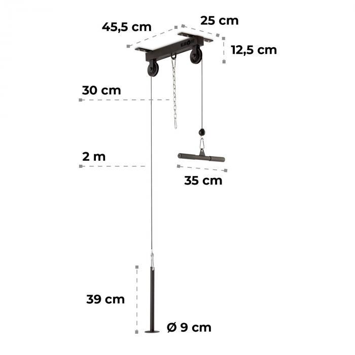 Hangman lat-drag takinstallation 2m kabel tricepsstång