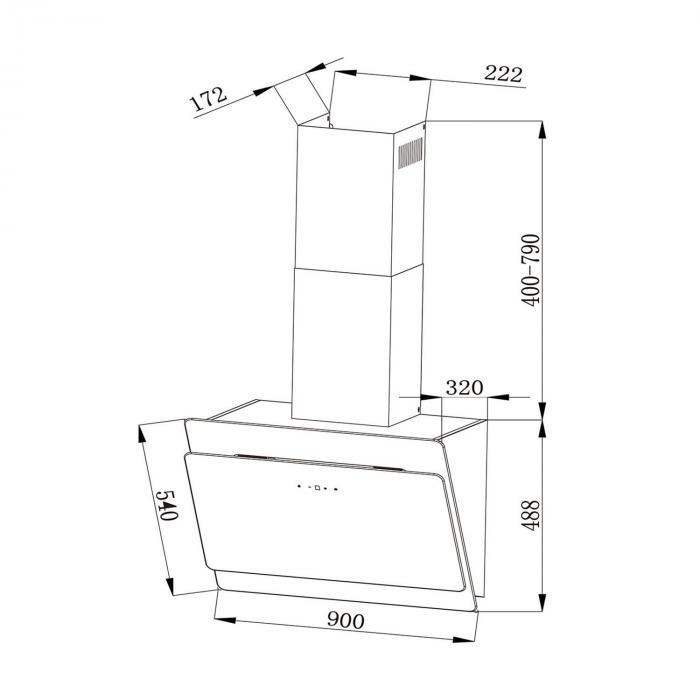 Klarstein Aurica 60 köksfläkt 60cm frånluft: 610 m³/h LED