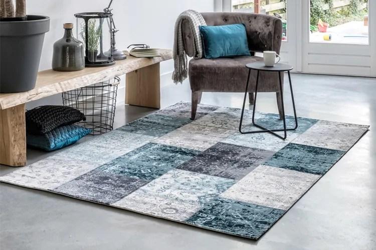 Patchwork vloerkleed in grijs- en blauwtinten (160x230