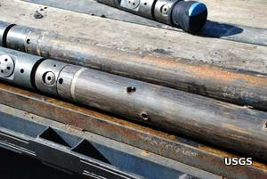 Perforations in a fracking pipe.