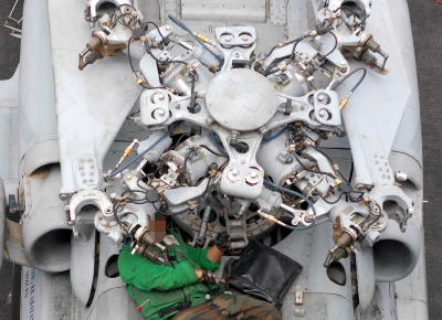 Seahawk helicopter rotor seen from above