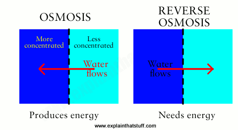 Artwork explaining how reverse osmosis works