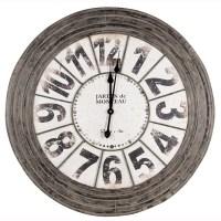 Large Metal Round Wall Clock - Antique Grey finish