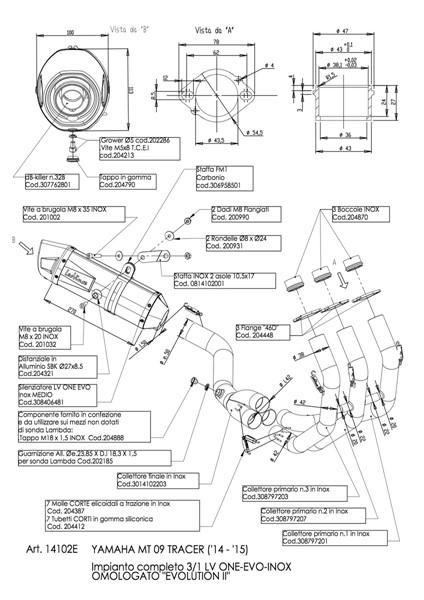 YAMAHA MT-09 TRACER LEOVINCE LV ONE EVO EXHAUST SYSTEM