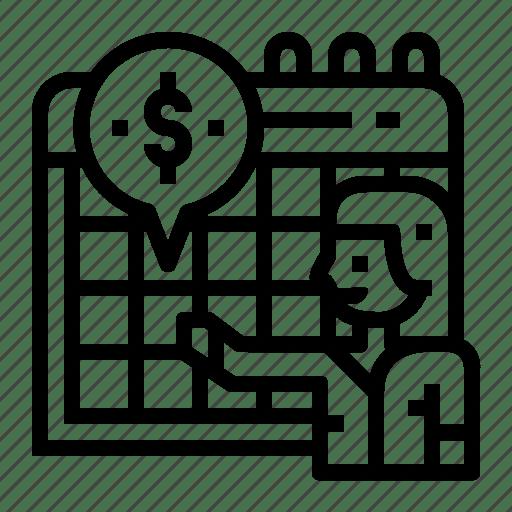 Accounting, calendar, installments, pay icon