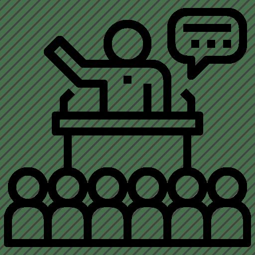Campaign, election, presentation, public, speaking icon