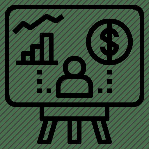 Benefits, business, chart, performance, presentation icon