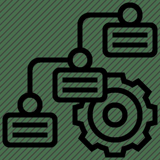 Cogwheel, diagram, formula, logic, sequence icon