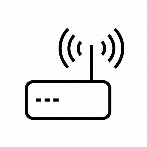 Internet, modem, outline, router, wifi, wireless icon