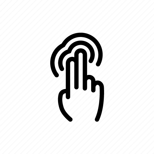 Double, finger, gesture, hand, swipe, tap, touch icon