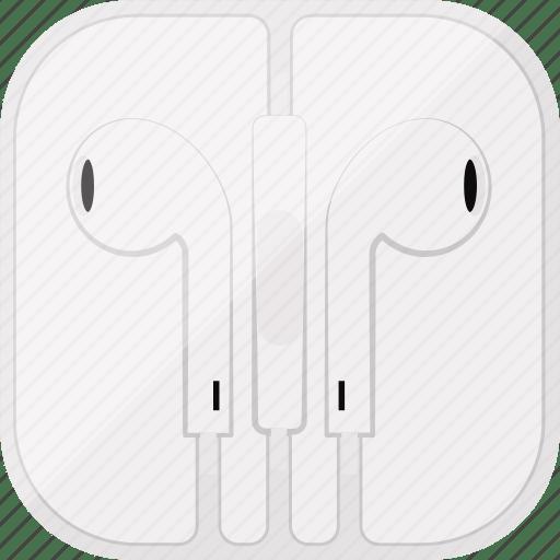Apple, box, earpods, headphones, music, white, icon