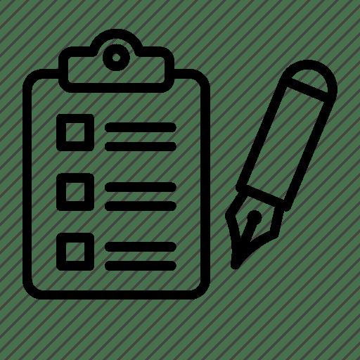 Check, checklist, form, fountain pen, inventory, list icon