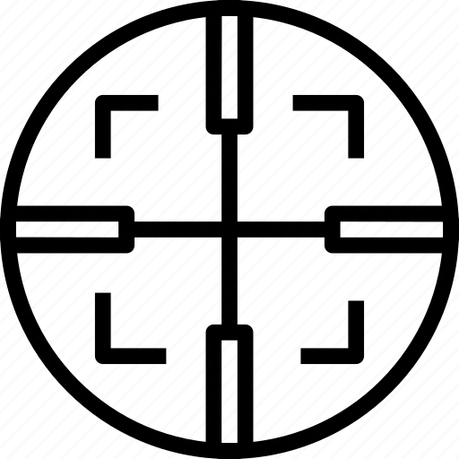 Big, cross, square, target, weapon icon