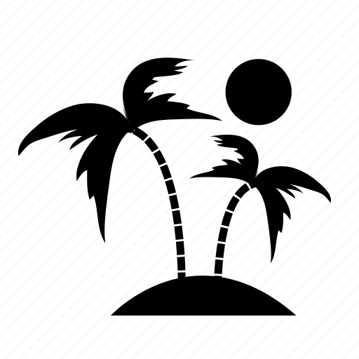 Beach, coconut, island, summer, sunset, travel icon