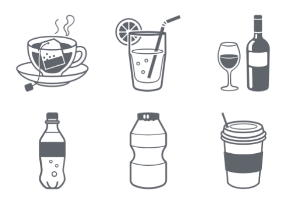 Drinks and Beverage containers icons by Jisun Park