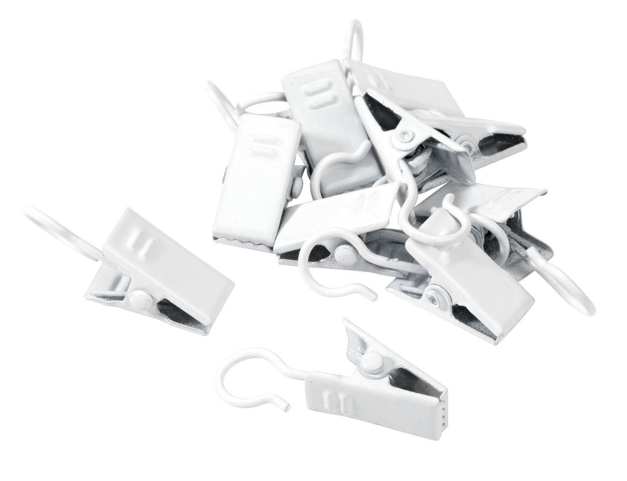 Gordijnhaak met klem 10stpk wit  JYSK