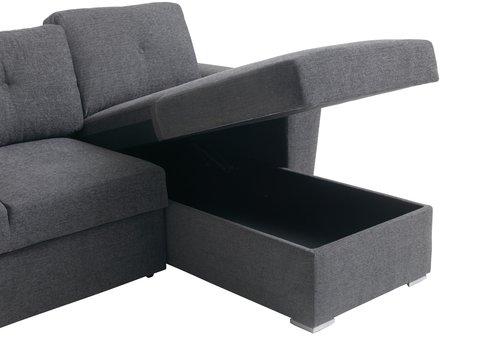 Slaapbank chaise longue VEJLBY dgrijs  JYSK