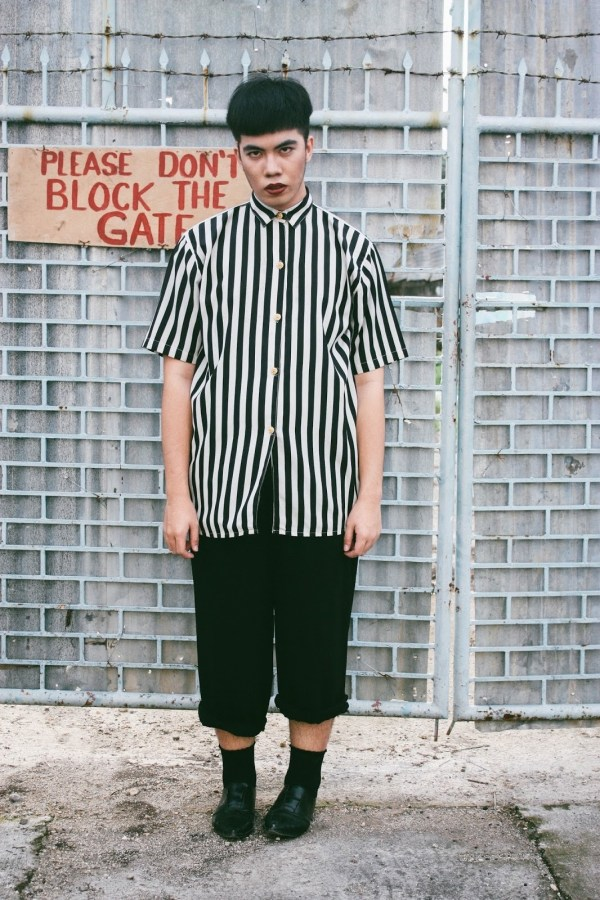 Men' Black Chinos And White Vertical Striped Short Sleeve Shirt Leather