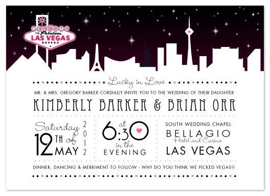 Wedding Invitations Vegas Skyline At