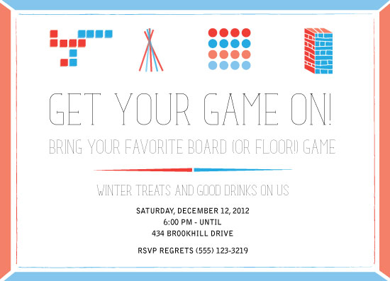 game night birthday party invitations