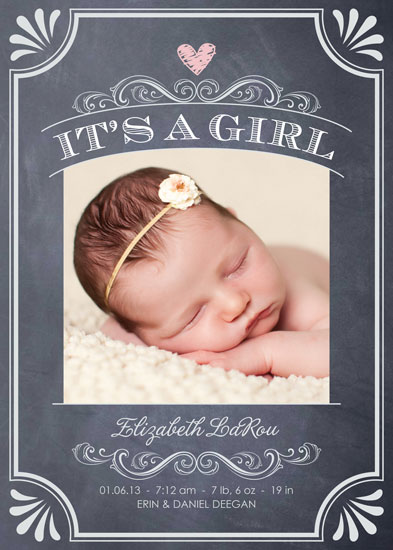 Birth Announcements Its A Girl Vintage Chalkboard At