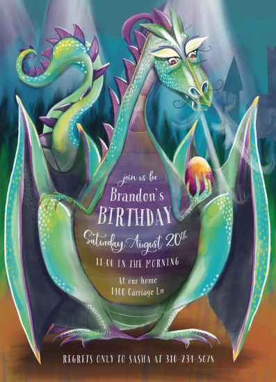 purple birthday invitations