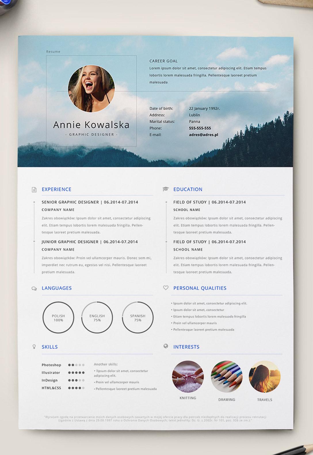 photoshop resume samples