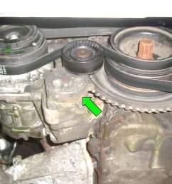 working off the ac belt identify the ac belt tensioner green arrow  [ 2591 x 1727 Pixel ]