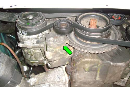 small resolution of working off the ac belt identify the ac belt tensioner green arrow