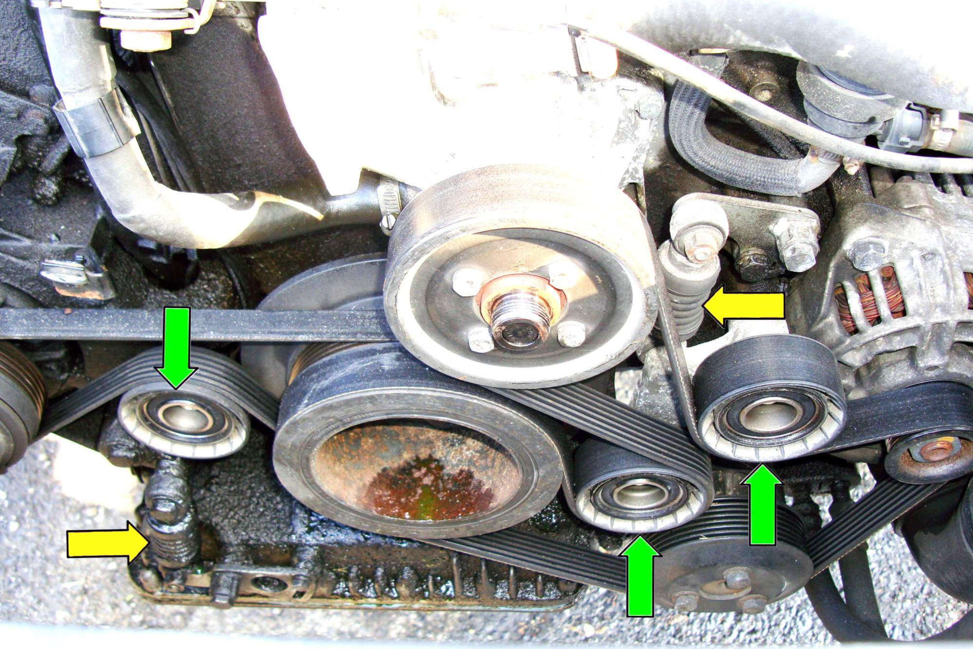 hight resolution of ac and drive belt tensioner removal eight cylinder working at the front of the eight