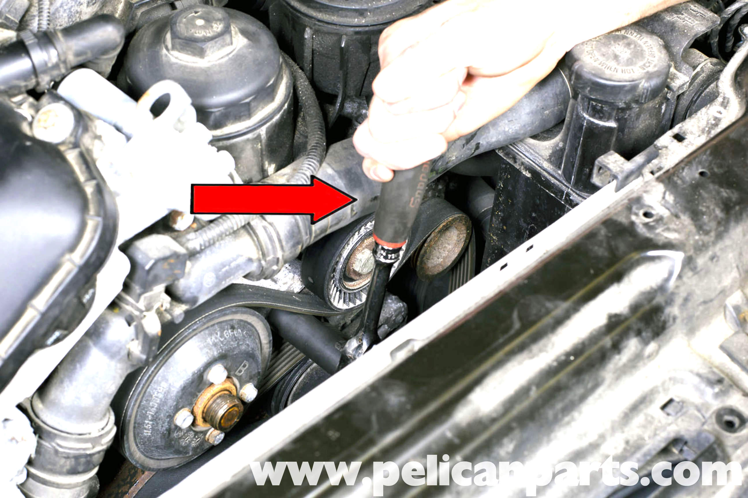 diesel engine starter diagram how to hook up a water softener bmw e39 5-series drive belt replacement   1997-2003 525i, 528i, 530i, 540i pelican parts diy ...