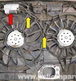 audi a4 b6 fan and shroud replacement 2002 2008 pelican parts 2006 audi a4 cooling fan wiring diagram [ 2591 x 1728 Pixel ]