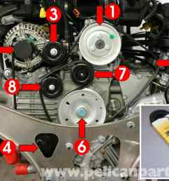 porsche boxster drive belt replacement 986 987 1997 08 rh pelicanparts com 2000 porsche boxster engine [ 2591 x 1773 Pixel ]