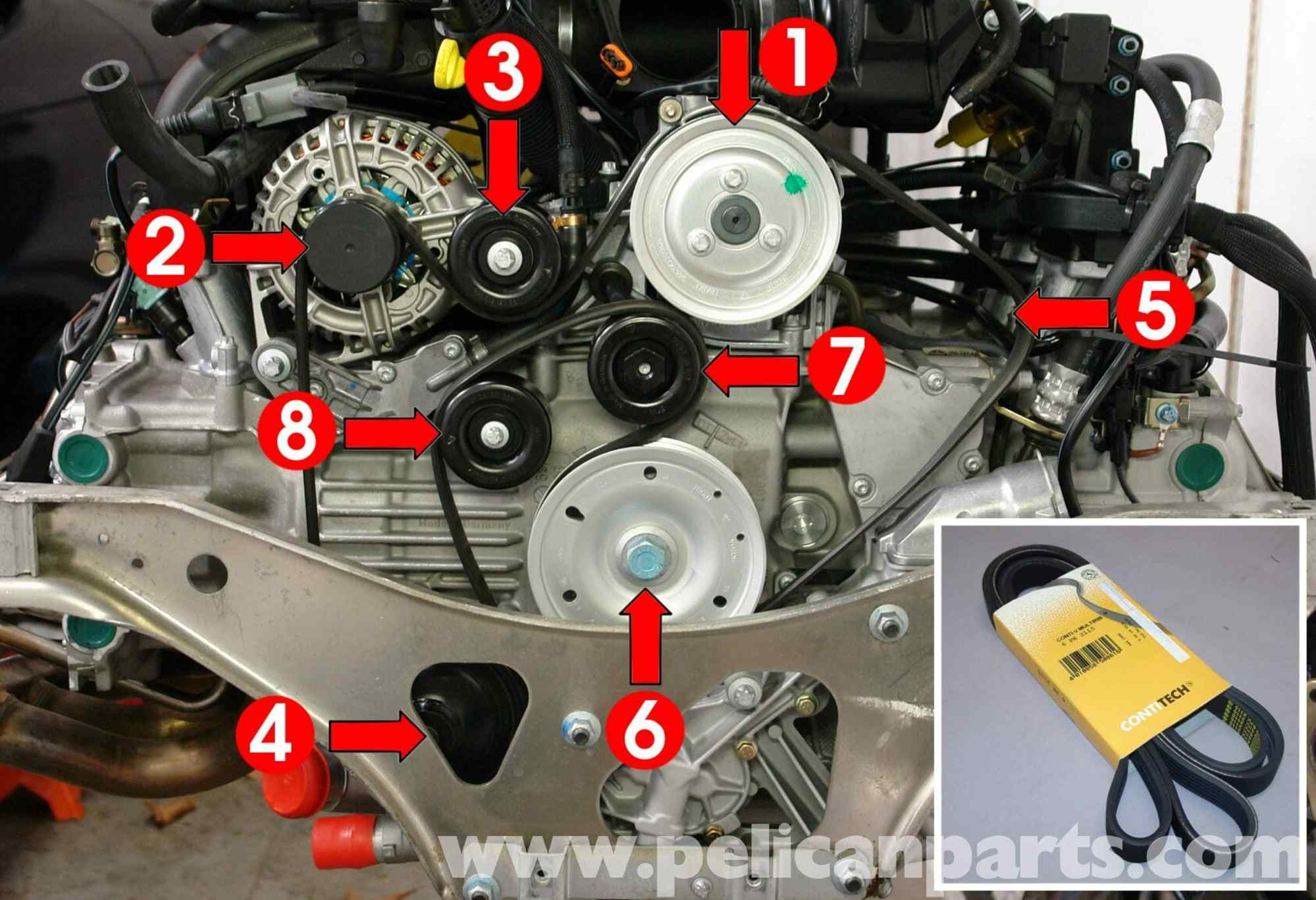 hight resolution of porsche boxster drive belt replacement 986 987 1997 08 rh pelicanparts com 2000 porsche boxster engine