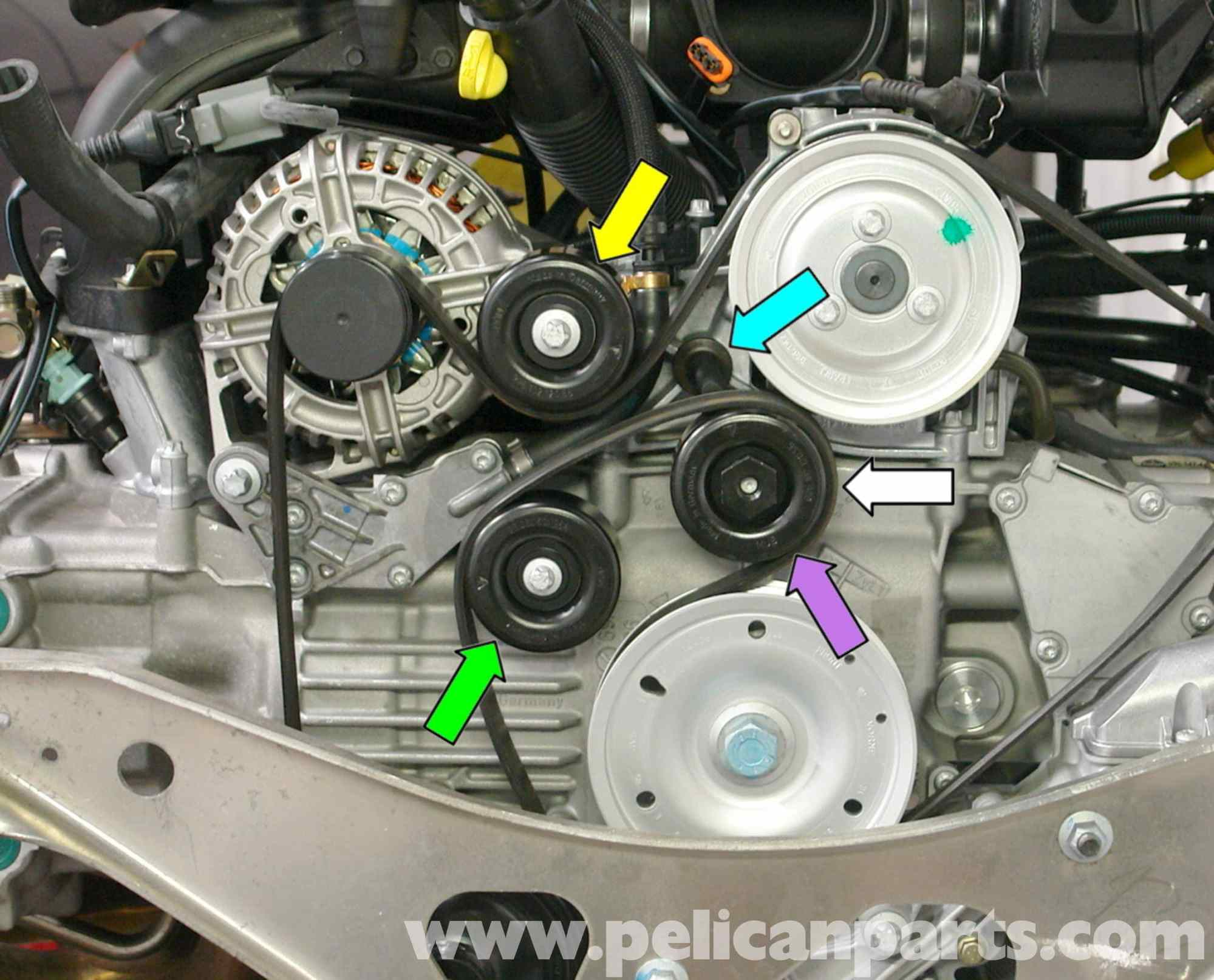 hight resolution of 2005 hyundai tucson engine diagram porsche boxster idler belt pulley replacement 986 987 3