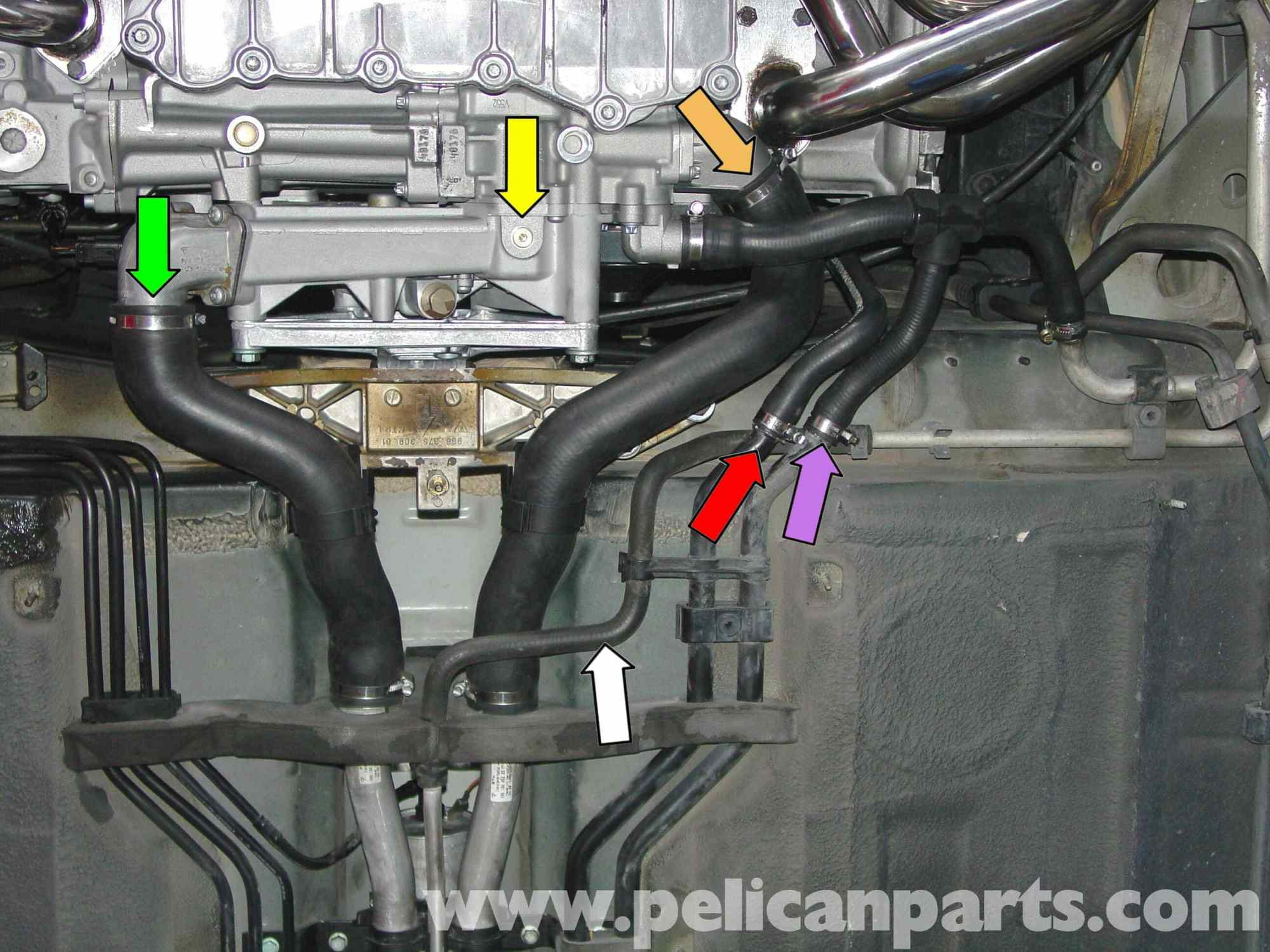 hight resolution of porsche boxster coolant replacement coolant flush 986 987 rh pelicanparts com 2004 jeep grand cherokee 4 0l engine coolant diagram engine cooling system