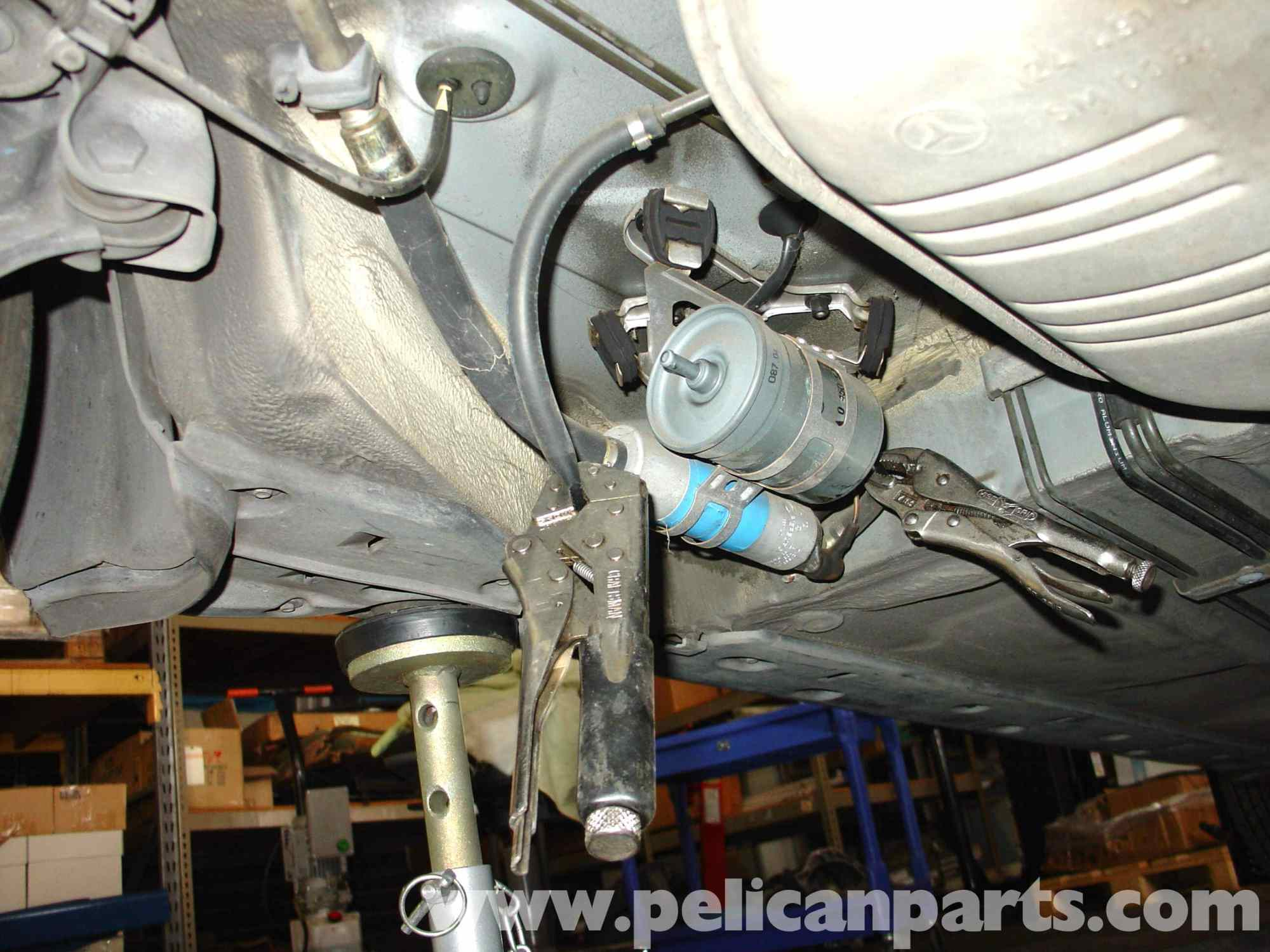hight resolution of mercedes benz w210 fuel filter replacement 1996 03 e320 e420 rh pelicanparts pump relay location