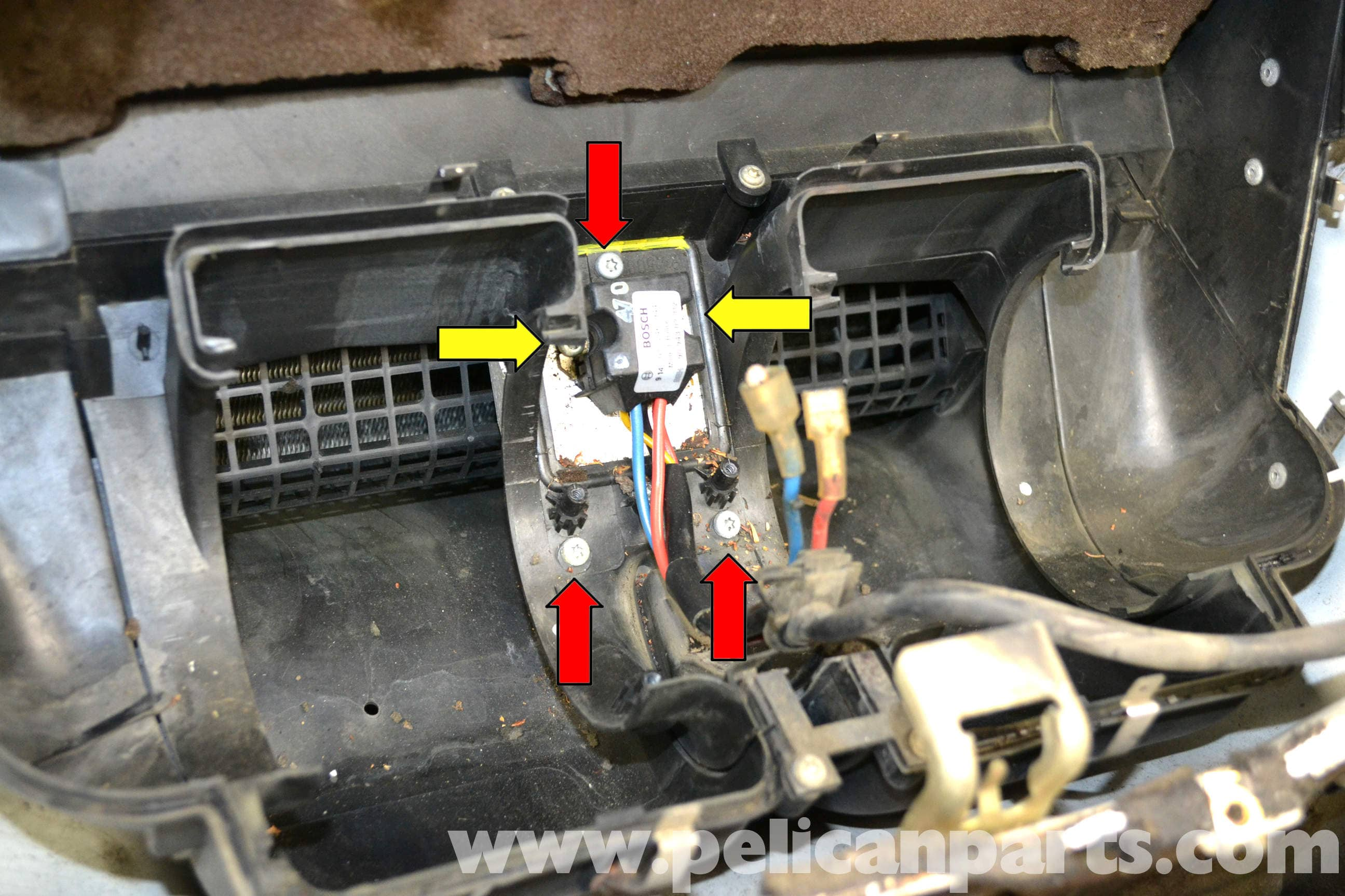 fan center relay wiring diagram scrum agile mercedes-benz w124 hvac resistor replacement | 1986-1995 e-class pelican parts diy maintenance ...