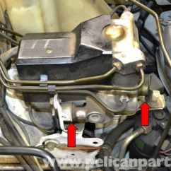 Mercedes W124 Abs Wiring Diagram Caravan 240v Benz Relay And Pump Replacement 1986 1995 E The Sits On Three Rubber Isolators Above Tray Red Arrows Two Shown