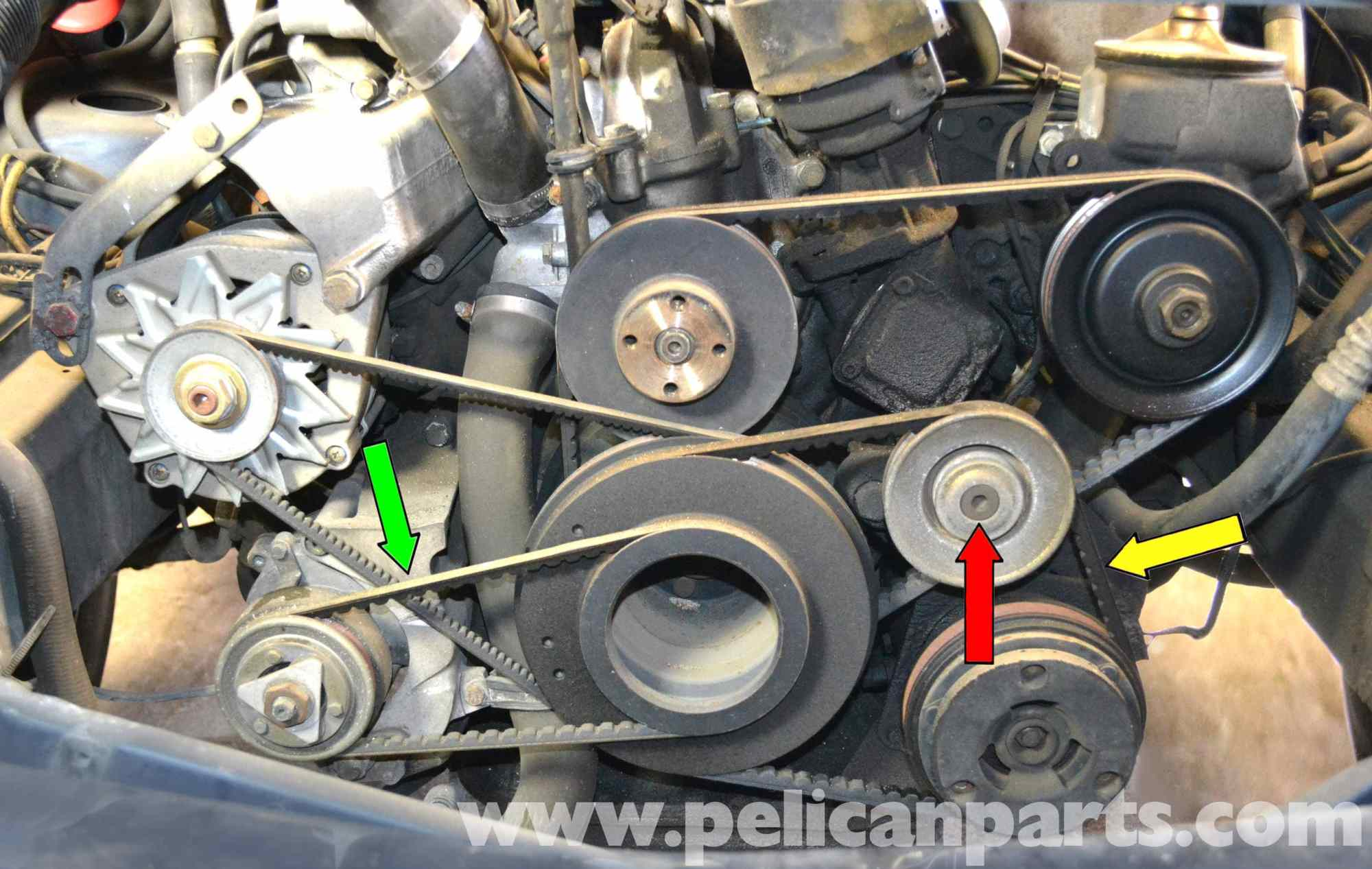 hight resolution of mercedes benz w126 a c belt replacement 1981 1991 s class rh pelicanparts com gm 3400 engine