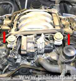 mercedes benz w203 valve cover breather gaskets replacement 2001 rh pelicanparts com 2014 mercedes benz [ 2591 x 1806 Pixel ]
