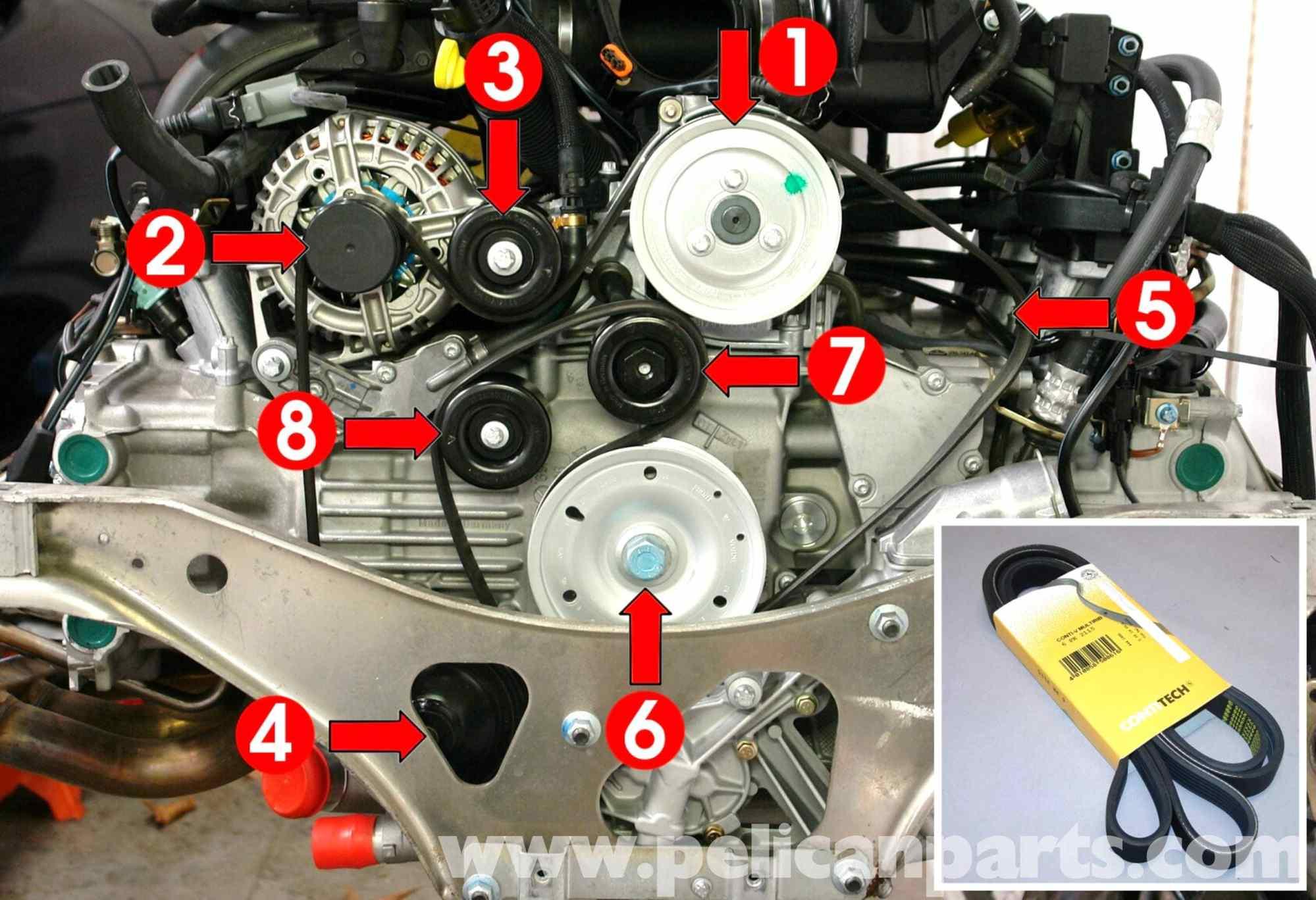 hight resolution of porsche 911 carrera belt replacement 996 1998 2005 2002 nissan 3 5 engine diagram nissan altima 3 5