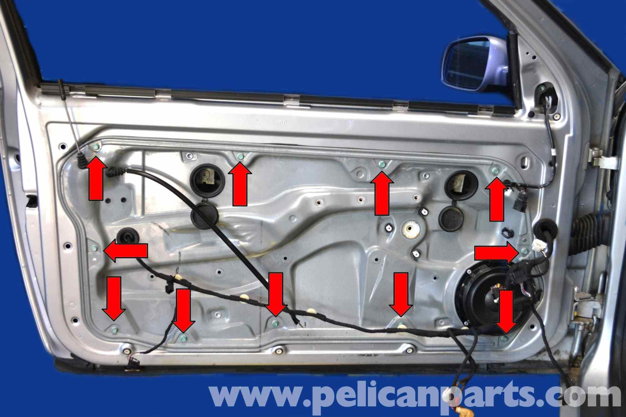 hight resolution of volkswagen golf gti mk iv window regulator replacement 1999 2005 pelican parts diy 1995 vw jetta engine diagram 2000 vw jetta wiring diagram
