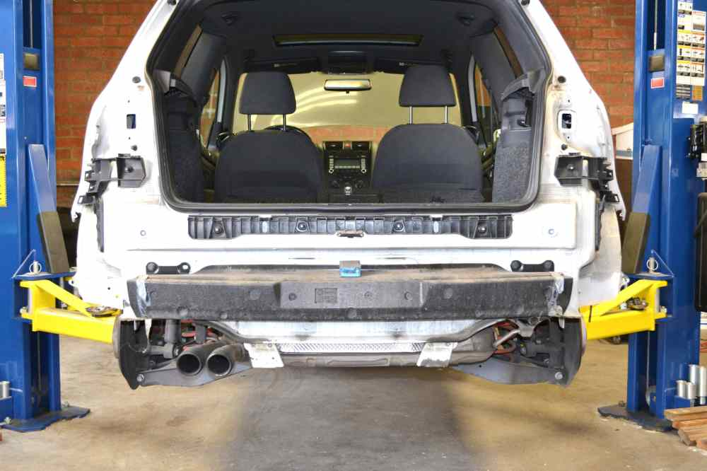 medium resolution of this photo illustrates the rear of the car with the bumper cover off