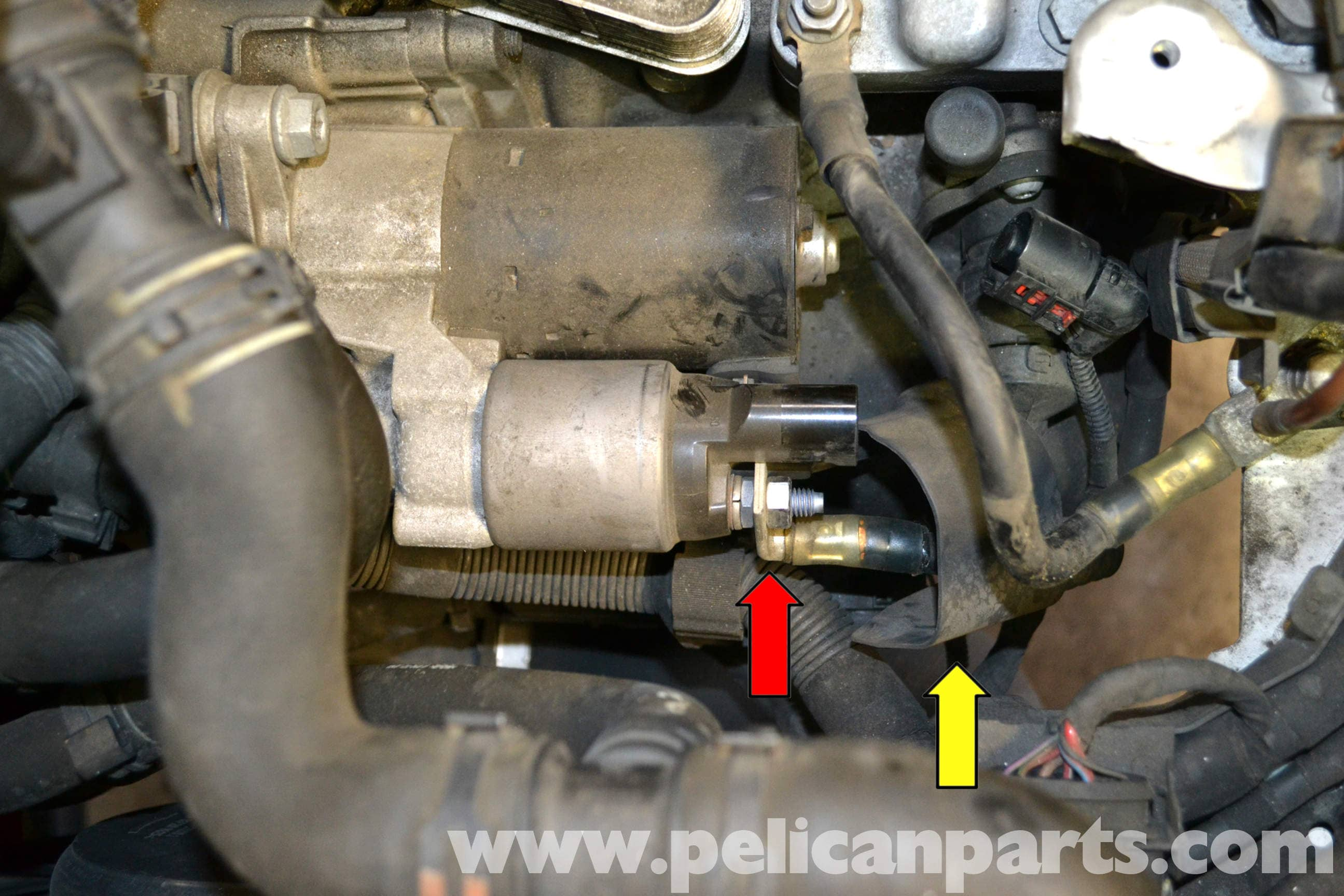 vw polo 2002 wiring diagram obd2a to obd2b distributor volkswagen golf gti mk v starter replacement (2006-2009) - pelican parts diy maintenance article