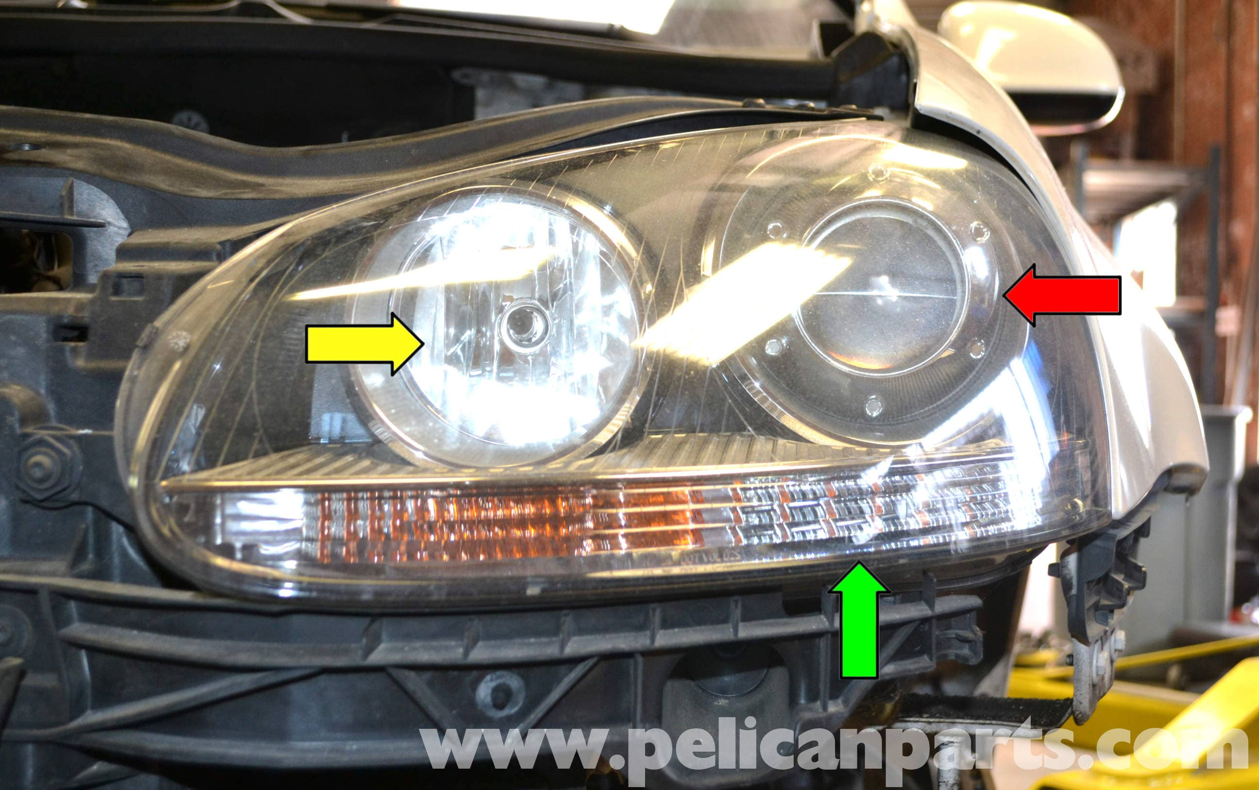 volkswagen caddy wiring diagram cat5 poe golf gti mk v headlight bulb and assembly replacement (2006-2009) - pelican parts diy ...