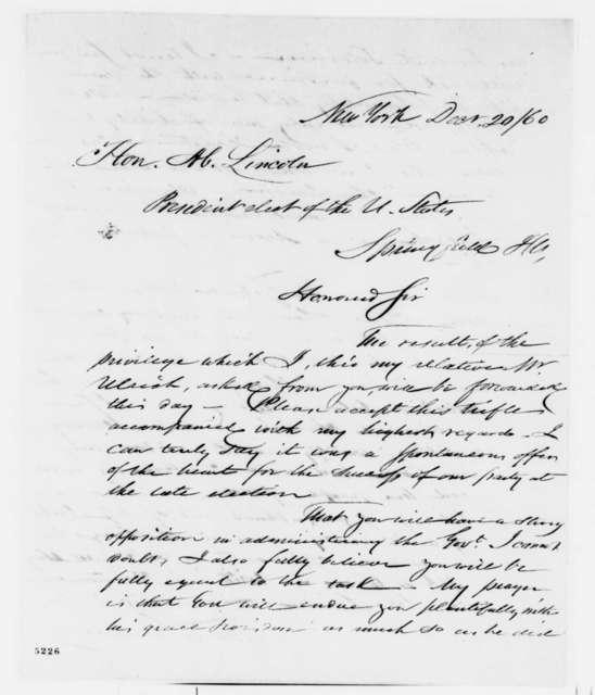 Thomas C. Durant to Abraham Lincoln, Saturday, October 10