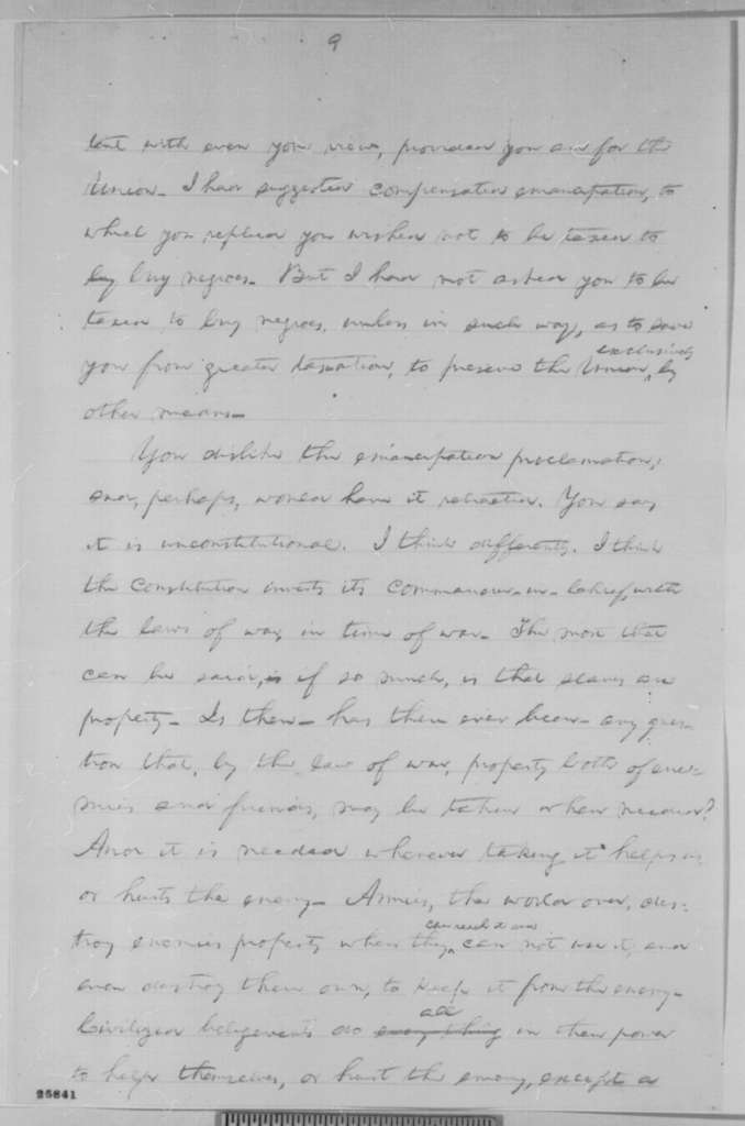 Abraham Lincoln, [1863] (Draft Fragment used in August 26